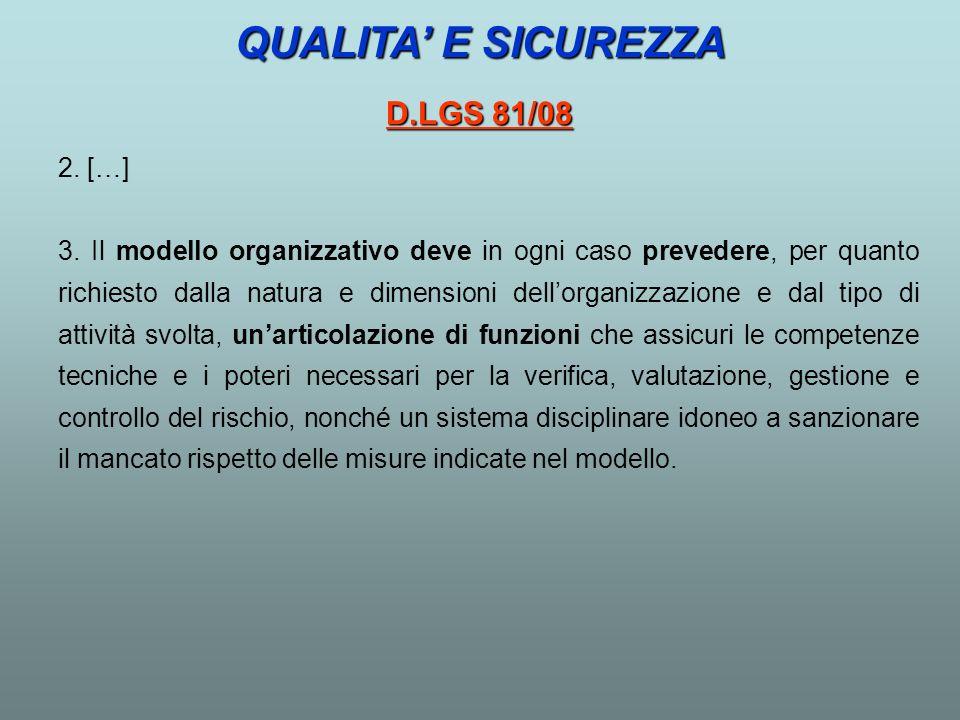 QUALITA' E SICUREZZA D.LGS 81/08 2. […]